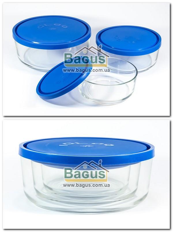 Набір 3шт. ємностей (судків) (0,8;1,47;2,5 л) круглих скляних з пластиковою кришкою Borgonovo 14061000