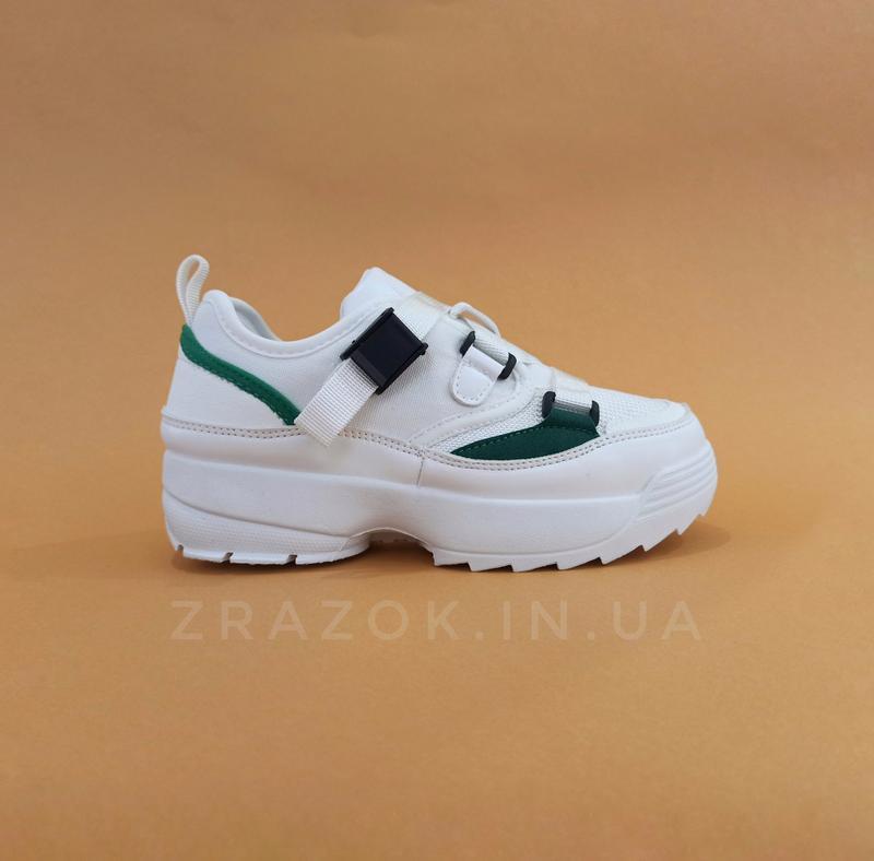Кросівки білі на товстій підошві в стилі fila disruptor філа на грубій підошві на ремінцях без шнурків