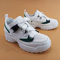 Кросівки білі на товстій підошві в стилі fila disruptor філа на грубій підошві на ремінцях без шнурків, фото 2