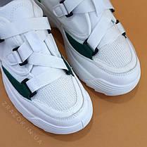 Кросівки білі на товстій підошві в стилі fila disruptor філа на грубій підошві на ремінцях без шнурків, фото 3