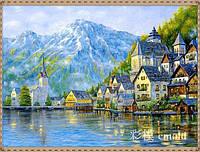 """Алмазная живопись набор """"Небольшой городок на берегу моря"""""""
