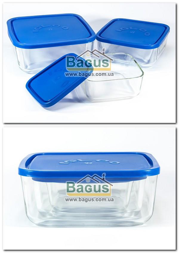 Набір 3шт. ємностей (судків) (0,95;1,8;3,2 л) квадратних скляних з пластиковою кришкою Borgonovo 14060000