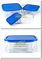 Набір 3шт. ємностей (судків) (0,95;1,8;3,2 л) квадратних скляних з пластиковою кришкою Borgonovo 14060000, фото 1