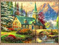"""Вышивка алмазная набор """"Красивая церковь у реки"""" по мотивам худ. Т. Кинкейда"""