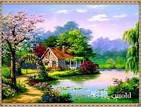 """Набор алмазной вышивки """"Уютный домик на берегу озера"""""""