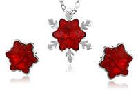 Набор украшений бижутерия Хупинг с кристаллами Swarovski серьги пуссеты и кулон цепочка красный Рождество