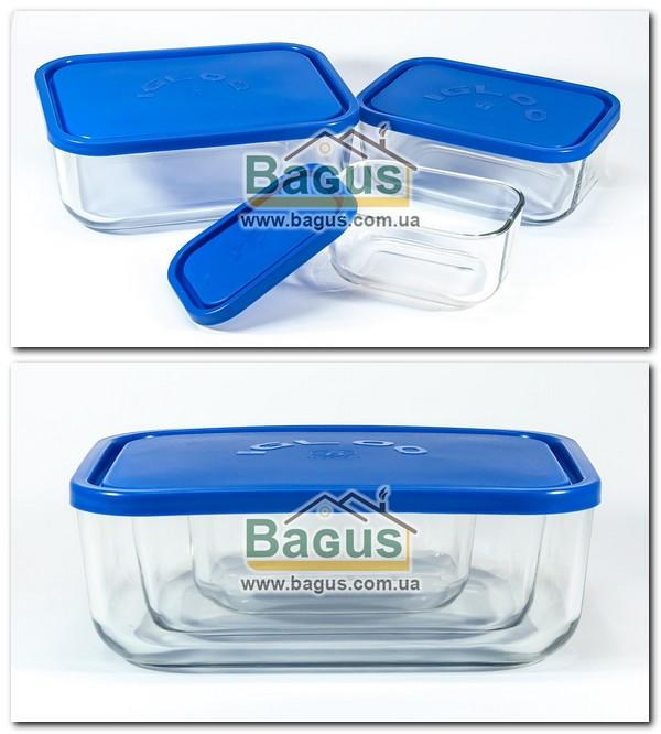 Набор емкостей (судков) (0,4;1,3;2,3л) прямоугольных стеклянных, пластиковая крышка Borgonovo 14062000