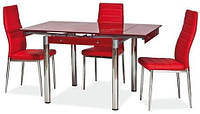 Стеклянный стол раскладной Signal GD-082 Red