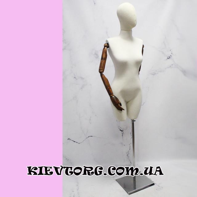 Манекен женский витринный с деревянными шарнирными руками для магазина одежды
