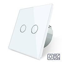 Сенсорная кнопка Livolo 12/24В 2 канала белый стекло (VL-C702CH-11), фото 1