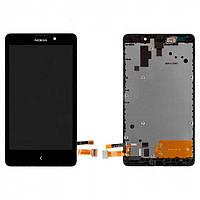 Дисплей Nokia XL Dual Sim (RM-1030 / 1042 / 1061) с сенсором и передней панелью, черный