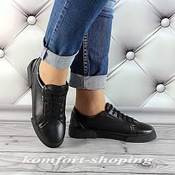 Женские кожаные кроссовки на шнуровке , черные  V 1283