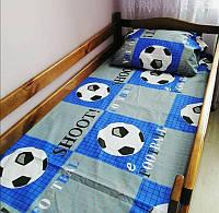 Постельное белье подростковое Футбол синий полуторное