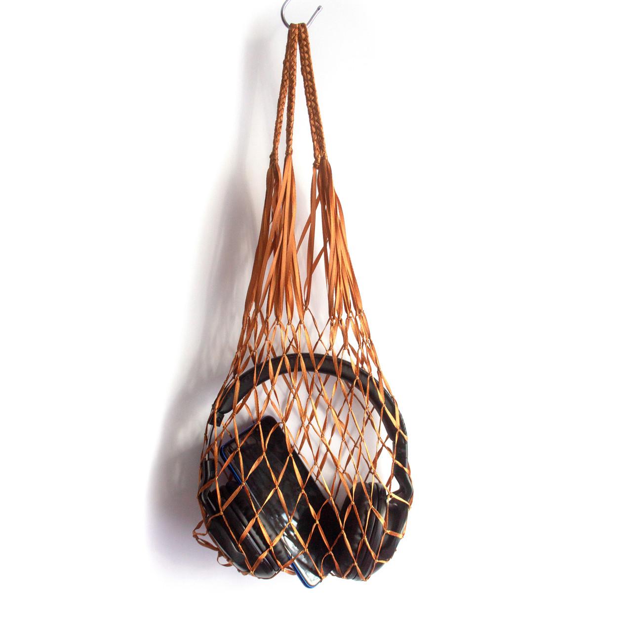 Органайзер для гаджетов - Атласная сумка -  авоська - мини - Темное золото