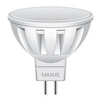 Лампа светодиодная Maxus MR16 (5W, 3000K, 220V, GU5.3) AL