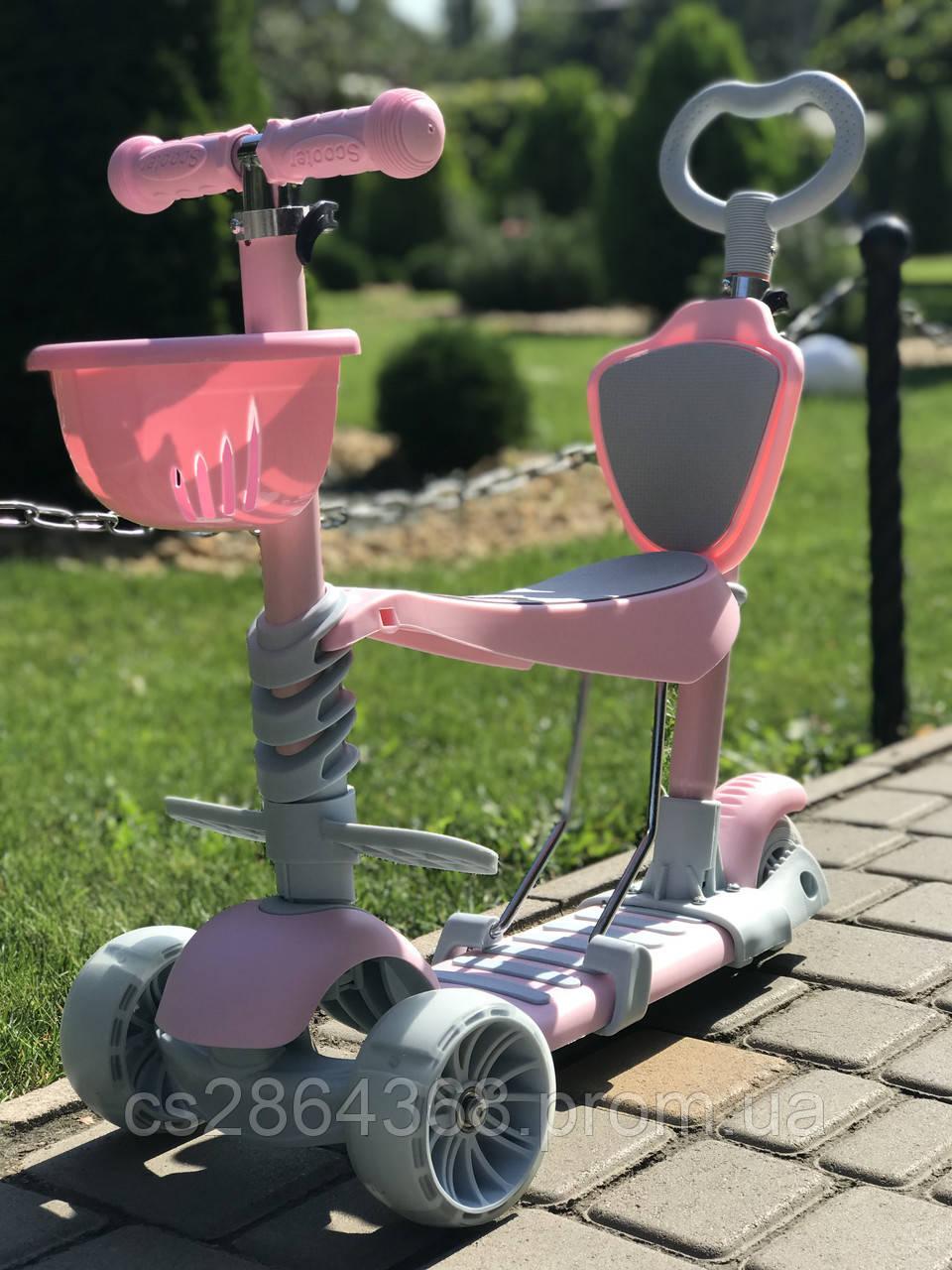 Самокат-беговел ScooTer Smart Pastel 5 in 1 Pink: 2+, ABEC-7