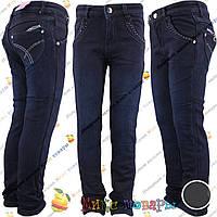 Тёмно синие джинсы с флисом для девочек от 6 до 10 лет (vn3713)