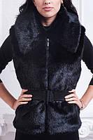 Женская жилетка с поясом-резинкой