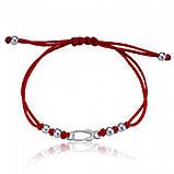 Браслет красная нить с серебром Булавка универсальный размер Aurora 75169, фото 2
