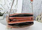 Женская сумка-клатч оранжевого цвета, эко кожа, фото 2