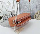 Женская сумка-клатч оранжевого цвета, эко кожа, фото 7