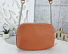 Женская сумка-клатч оранжевого цвета, эко кожа, фото 6