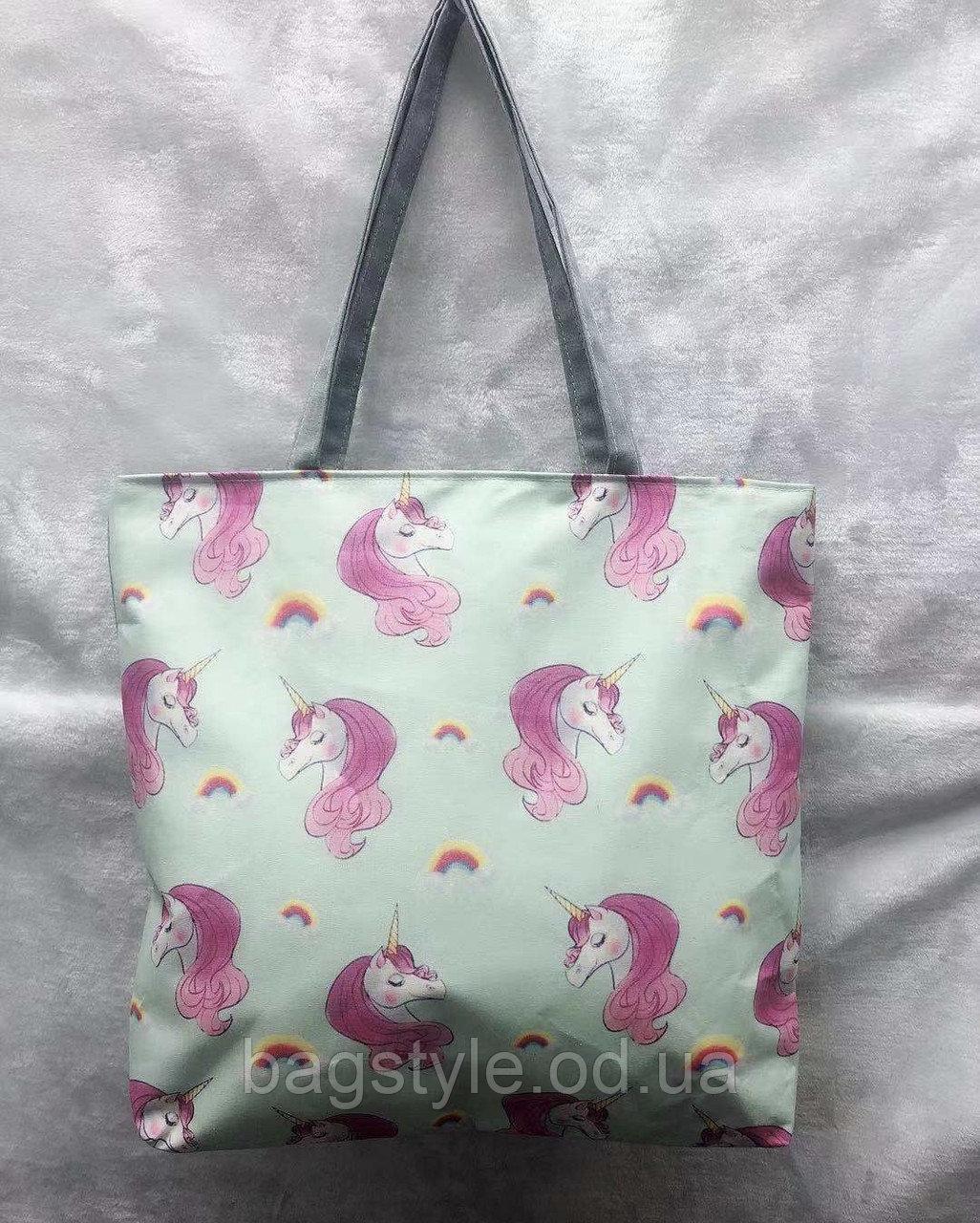 Эко сумка с принтом единорога пляжная коттоновая