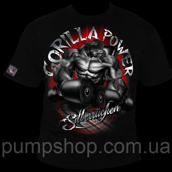 Футболка чоловіча для бодібілдингу Silberrucken Gorilla Power 10 чорна М
