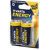 Батарейка щелочная, Alkaline D Energy (4120, LR20) Varta 1.5V, 2шт. в блистере