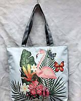 Женская сумка-шоппер тканевая с принтом фламинго
