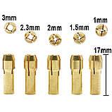 Патрон цанговый на вал 3.17 мм. зажим 0.5 мм. - 3.0 мм. + 5 цанг + ключ. Для  мини дрели, фото 8