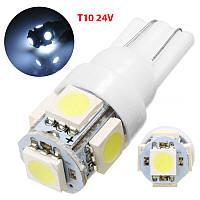 Led лампы W5W, Т10 5Leds 5050SMD, 24V ., фото 1
