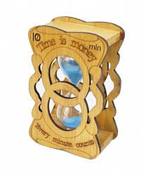 Песочные часы 10 минут в фигурной бамбуковой подставке голубой песок