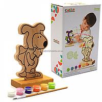 Набор для творчества - деревянная игра-раскраска щенок (с красками), 16 см (13838), фото 1