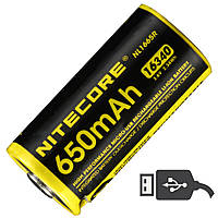 Аккумулятор литиевый Li-Ion RCR123A Nitecore NL1665R 3.6V (650mAh, USB), защищенный