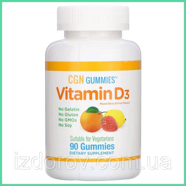 California Gold Nutrition, Витамин D3 для детей от 4 лет в жевательных таблетках, ягодное ассорти, 90 шт