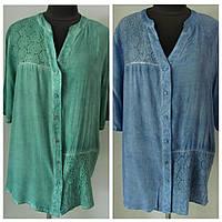 Блуза рубашечного кроя штапельная с прошвой двух цветов ,ботал, (р-р.48,50,52,56)  Код 1398М