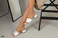 Шлепанцы на каблуке бежевые из натуральной кожи, фото 1