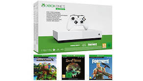 Консоль Xbox One S 1ТБ All Digital + Sea of Thieves + Minecraft + Fortnite (Комплект) (БЕЗ ДИСКОВОДА)