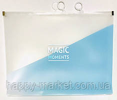 Папка на zip lock А4 (бегунок) №WB-411 /180 мк (33*24.5) голубая с расшир.