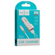 Зарядка для авто Hoco Z23 grand style dual-port car charger with Lightning 2USB 2.4A White, фото 2