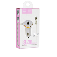 Зарядка для авто Hoco Z14 single port with Lightning cable car charger 1USB 3.4A White, фото 2