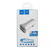 Зарядка для авто Hoco Z12 elite two-port car charger 2USB 2.4A White, фото 2