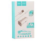 Зарядка для авто Hoco Z12 elite two-port car charger set with Lightning 2USB 2.4A White, фото 2