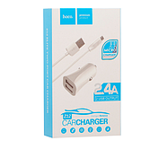Зарядка для авто Hoco Z12 elite two-port car charger set with Micro 2USB 2.4A White, фото 2
