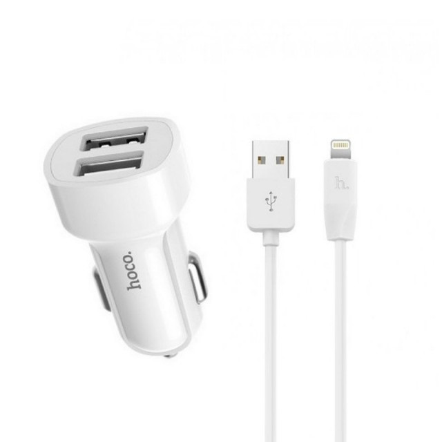 Зарядка для авто Hoco Z2A two-port Car charger set with Lightning cable 2USB 2.4A White