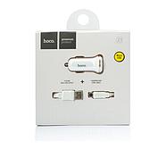 Зарядка для авто Hoco Z1 Car Charger Set with Micro 2USB 2.1A White, фото 2