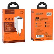 СЗУ Hoco C63A Victoria dual port charger with digital display(EU) 2USB 2.1 A White, фото 2