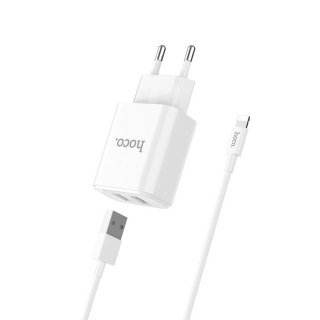 СЗУ Hoco C62A Victoria dual port charger set Lightning (EU) 2USB 2.1A White