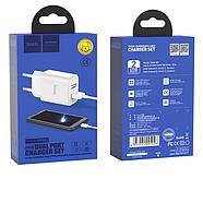 СЗУ Hoco C62A Victoria dual port charger set Type-C (EU) 2USB 2.1A White, фото 2